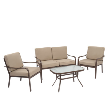 4pcs Wrought Iron Two Single Sofas One Double Sofa One Coffee Table Brown Frame Yellow Cushion Courtyard Iron Table And Chair Set