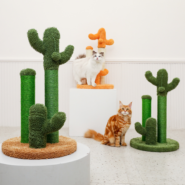 Cat Scratching Post Cactus Cat Scratcher Featuring with 3 Scratching Poles and Interactive Dangling Ball Orange