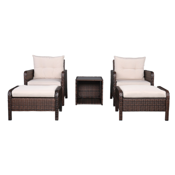 Outdoor Lounge Chair Chat Conversation Set, 5 Piece Wicker Patio Furniture Set, Cushioned Patio Chairs Set of 2 w/Ottoman&Table, Brown