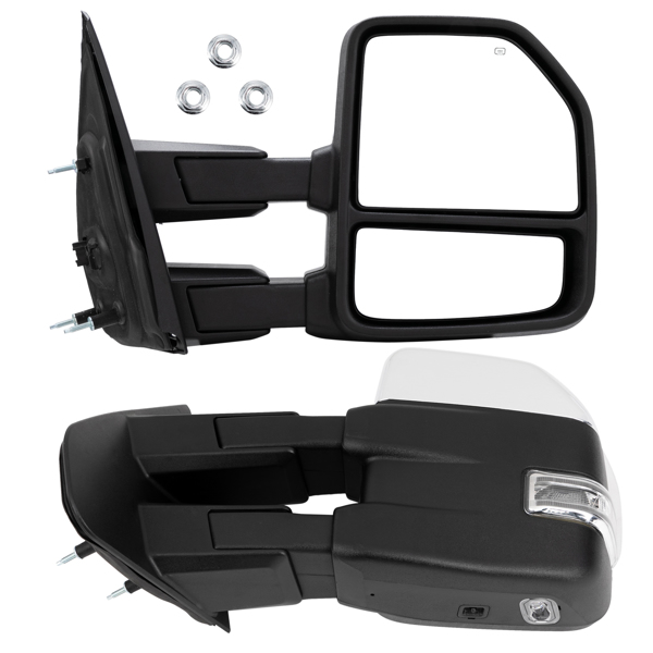 For 2007-2014 Ford F150 Chrome Power Heated Telescoping Tow Mirrors LED Signal